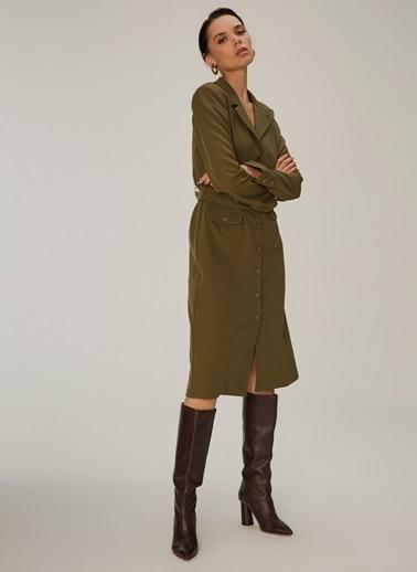 NGSTYLE Ceket Yakalı Elbise Haki